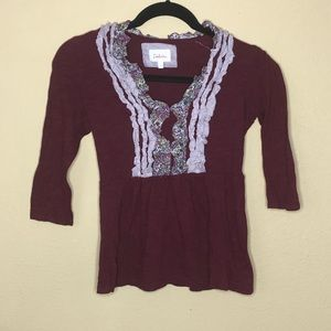 Deletta Cotton Burgundy 3/4 Sleevew Top XS